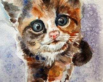 Custom Watercolor Cat Portrait, Pet Portrait from Photo, Custom Pet Art