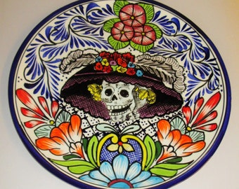 Mexican Day of the Dead Talavera Catrina Plate, Dia de los Muertos
