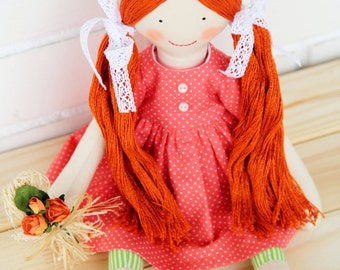 Fabric doll, Cloth doll, rag doll, stuffed doll, soft doll, handmade doll, Red-haired doll with removable dress
