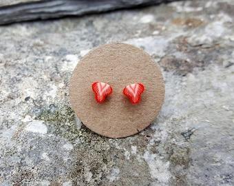 Strawberry ear studs, sterling silver, fruit post earrings, fruit stud earrings, tiny, kawaii, fun