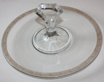 Lovely Gold Rimmed Dessert Glass Vintage Plate with Center Handle