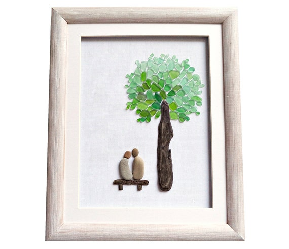 Wedding Gift Glass Painting : Sea glass art gift for couple, Pebble art, Romantic gift for her / him ...