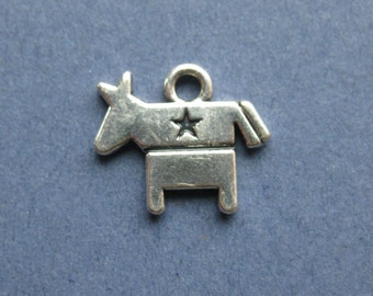 5 Democratic Donkey Charms - Donkey Pendants - Donkey - Democratic Charm - Democratic - Antique Silver - 15mm x 13mm --(S8-10252)