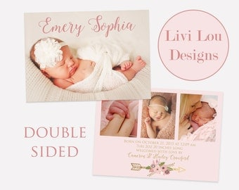 Baby Girl Pink and Gold Double Sided Birth Announcement