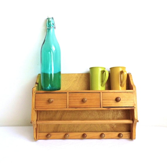 Wall Cabinet Spice Rack: Vintage Spice Rack Wall Shelf Cabinet Wooden Rustic Box Chest