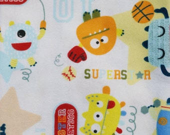 Sports Monsters Flannel Baby Blanket