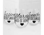 SET OF 9, bridesmaids cups, bachelorette cups, wedding cups, initial wine glasses, custom wine glass, custom wedding gift, bachelorette cup