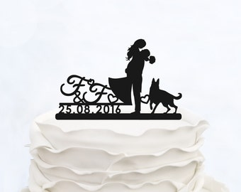 CUSTOM CAKE TOPPER silhouette with date_Wedding Cake topper with initials_Custom cake topper dog__Personalized cake topper