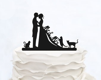 Wedding Cake Topper Mr & Mrs with three cats_Couple Silhouette_Bride And Groom_bridal show topper_Custom Cake Topper_Unique Cake Topper