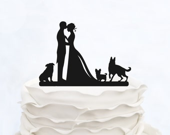 Wedding Cake Topper With three Dogs_Bride And Groom Couple Silhouette_Custom Cake Topper_funny Cake Topper_Couple silhouette customized