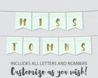 Printable Banner with ALL Letters and Numbers - Mint and Gold Faux Foil Bridal Shower Decoration - Modern Bridal Shower Banner 0010-M