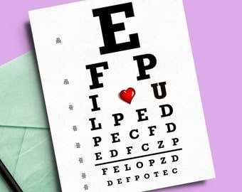 Optometry eye doctor card love vision chart Snellen lovers valentines day anniversary optometrist cute ophthalmology