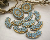 Lot of 10 Vintage German turquoise and gold glass jewelry components cabochon