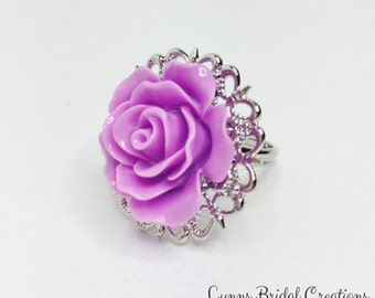 Purple Rose Ring Purple Bridesmaid Gift Adjustable Rose Ring Lilac Wedding Gift Purple Bridal Jewellery Filigree Ring Flower Girl Gift