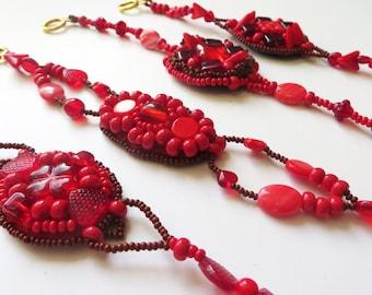 Red bridesmaid bracelet / Beaded red bracelet / Boho bracelet gypsy jewelry / Beadwork jewelry bohemian bracelet / Valentines gift for her
