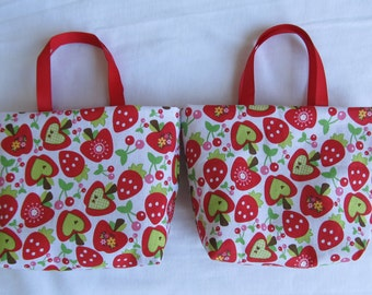 Set of 2 Fabric Gift Bags/ Party Favor Bags- Apples, Strawberries and Cherries