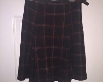Retro 70s Pleated Plaid Skirt