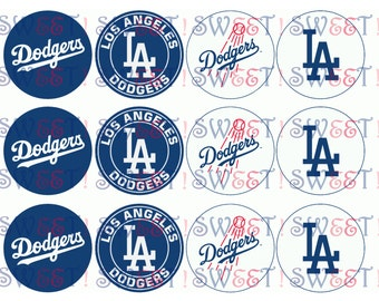 "Edible Los Angeles Dodgers 2.5"" Round Cupcake or Cookie Toppers - Wafer Paper or Frosting Sheet"