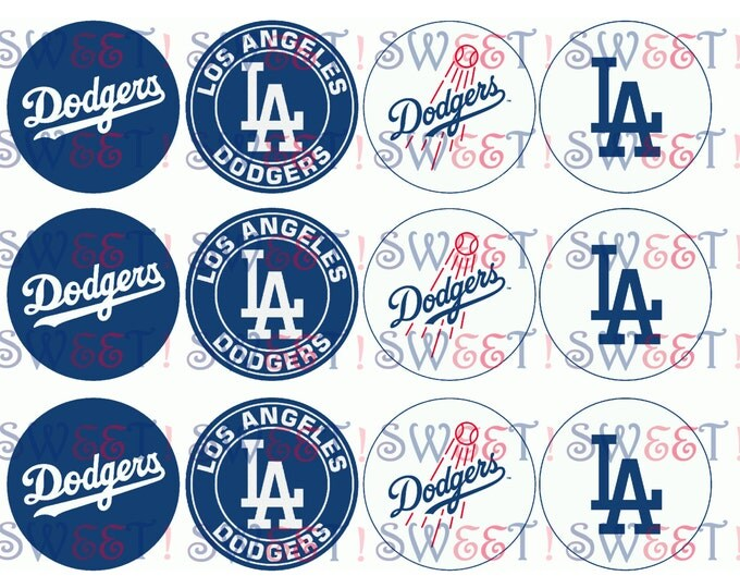 Edible Los Angeles Dodgers Cupcake, Cookie or Oreo Toppers - Wafer Paper or Frosting Sheet