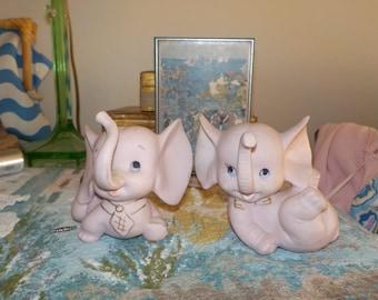Kelvins Pink Bisque Elephant Figurines