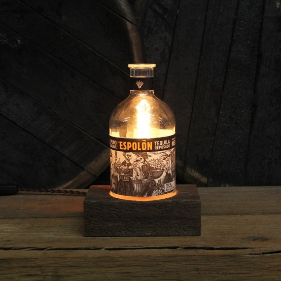 Espolon Tequila Bottle Desk Lamp - Features Reclaimed Wood Base, Edison Bulb, Twisted Cloth Wire, In line Switch, And Plug, Upcycled Light