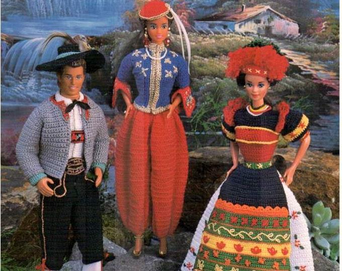 Featured listing image: Crochet 7 Fashion Doll Folk Costumes pattern, fits Barbie dolls. Designed by Juanita Turner, Annie's Attic thread crochet book 879203.