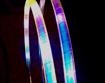 Indigo Sunrise LED Double Mini Light Up Flow Hula Hoops, Day to Night Festival Dance Hoop, Collapsible Travel, HDPE, Polypro. Moons Of Noor