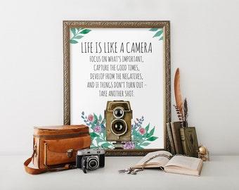 Printable art, Positive quote print, Retro camera print, Life is like a camera quote print, Wall decor, Home decor, Camera printable BD-798