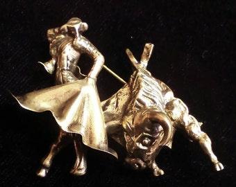 Sterling Silver Matador Bullfight Pin