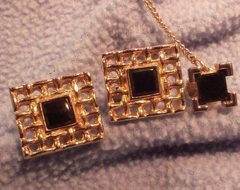 Onyx and Goldtone Cufflinks and Tie Tack  -Square Cuff Links