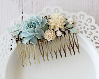 Vintage Style Wedding Hair Comb - Blue Rose Hair Comb - Floral Hair Comb - Bridesmaid Gift - Something Blue - Boho Wedding Hair Comb -