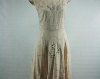 L/XL 1950s pink linen rhinestone soustache dress 42/34/F