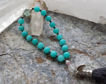 gemstone mala bracelet with aquamarine, fluorite and hematite