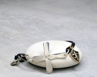 African Cross Leather Bracelet