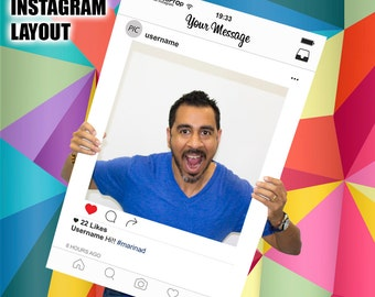 Instagram Frame - Photo Booth Prop - fully printed & customized for any events - Instagram Prop - Instagram Frame Prop - Instagram cutout