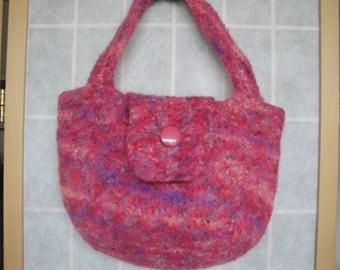 pink felt handbag, hand-knit felt purse, pink lilac peach bag, tab-front handbag, knitted felt bag, button-tab purse, feltfunky felt purse