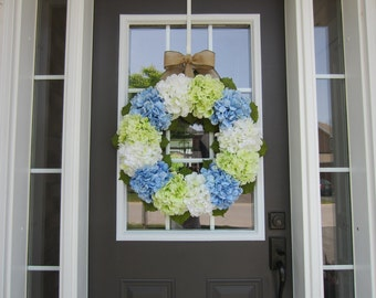 Hydrangea wreath- large green, blue and white hydrangea wreath with burlap bow