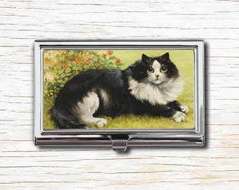 Black and White Cat Business Card Case, Business Card Holder, Card Case, Card Holder, Louis Wain, Cat Lover Gift, Cat Art, Louis Wain Cats