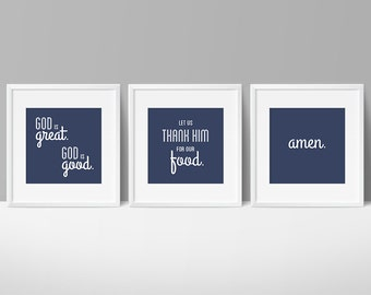 "God is Great Prayer printable set, 8x8"" digital files for dining room, kitchen, or breakfast room, printable wall art"