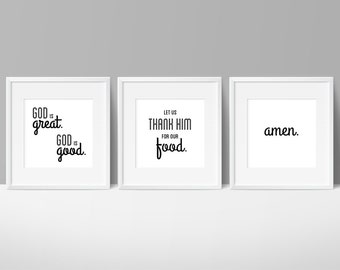 God is Great, God is Good, Dining Room Decor, Prayer Art, Kitchen Printables, Prayer Sign, Christian Kitchen, Amen Print, Prayer Printable