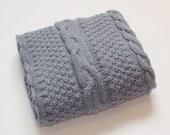 Gray Knit Baby Blanket Stroller Blanket Baby Crib Bedding Baby Shower Gift Unisex Gender Neutral Bedding Knitted Baby Blanket Car Seat