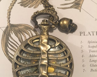 Rib Cage Pocket Watch, Fob, Skull Charm, Necklace, Antique Bronze, Gothic, Steampunk