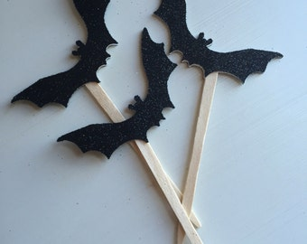 Black Glitter Bat Halloween Party Cupcake Picks