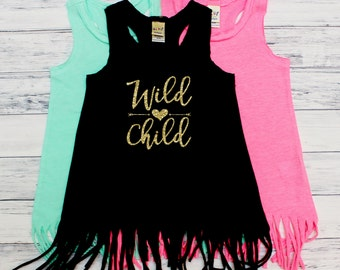 Wild Child - WILD - Fringe Dress - Fringe Tank - Wild ONE - Girls Clothing - Tank Tops - Toddler Girl - Youth - Boho - Hipster - Trendy