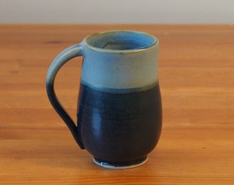 Coffee Mug - Ceramic, Handmade Pottery, Black and Blue