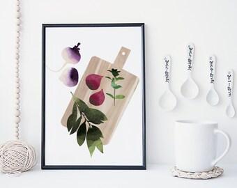 Fruit and vegetable wall art, kitchen art print , food poster, watercolor art print, home wall decor, food art, minimal, simple
