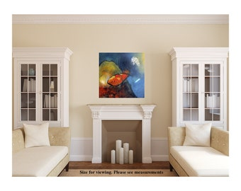 Underwater Art Ocean painting Abstract Fish Original painting, Abstract Painting of Fish Art Gift