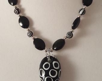 Black Necklace - Black Jewelry Set - Black Jewelry - Black & White Swirl Jewelry - Black Bracelet -Black Earrings-Black Necklace-Jewelry Set