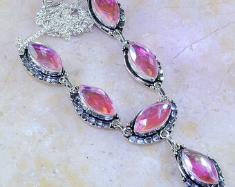 """Beautiful Rainbow Topaz Sterling Silver Necklace 19 1/2"""" Princess Style"""
