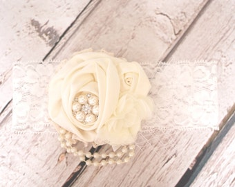 Satin Rose Flower Lace with Pearls and Chiffon Baby Headband